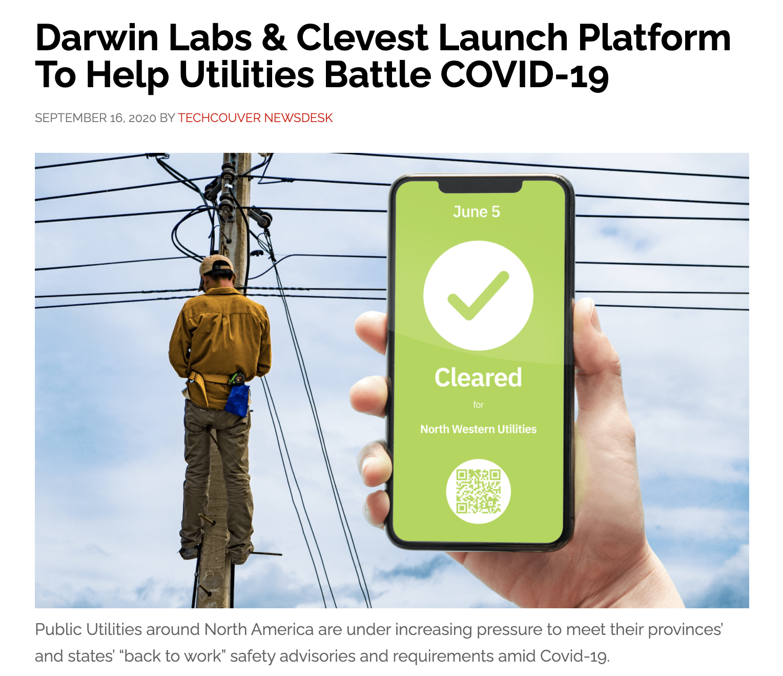 Darwin Labs & Clevest Launch Platform To Help Utilities Battle COVID-19